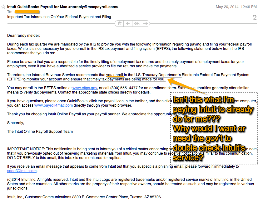 Intuit payroll email